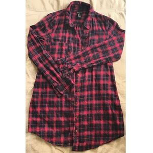 Forever 21 red and navy blue, plaid button up